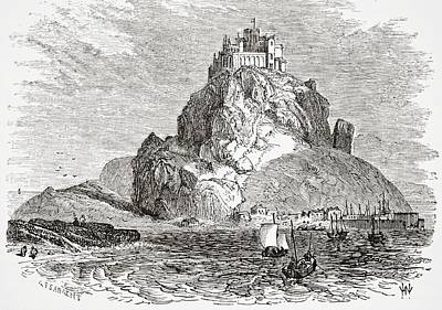 St Michaels Mount Cornwall England From Print by Vintage Design Pics