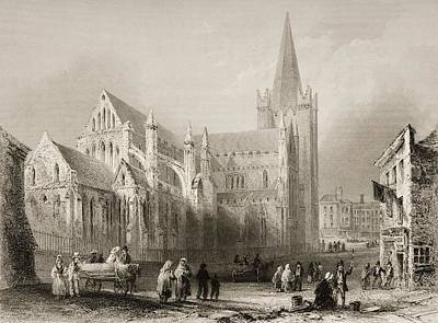 St. Patrick S, Dublin, Ireland. Drawn Print by Vintage Design Pics