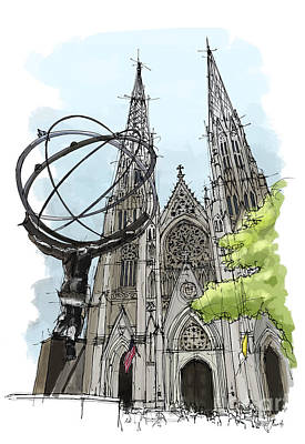St. Patricks Cathedral, New York City Sketch Print by Pablo Franchi