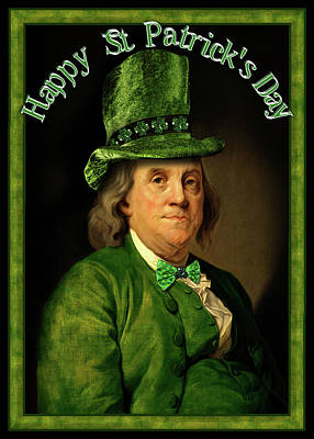Franklin Mixed Media - St Patrick's Day Ben Franklin by Gravityx9 Designs