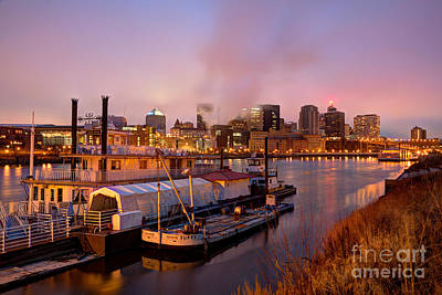 Evening Scenes Photograph - St Paul Minnesota Its A River Town by Wayne Moran