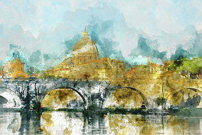 St. Peter's In Vatican City Rome Italy Print by Brandon Bourdages