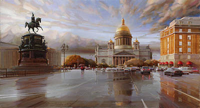 St. Petersburg. St. Isaac's Square At Sunset Print by Ramil Gappasov