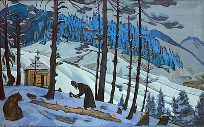 Animal Symbolism Painting - St. Sergius The Builder by Nicholas Roerich