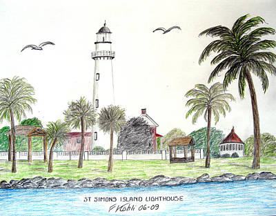 Seacoast Drawing - St Simons Island Lighthouse  by Frederic Kohli