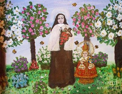 Gerry Painting - St. Teresa And The Infant Jesus by Seaux-N-Seau Soileau