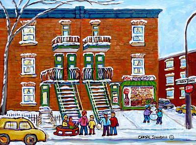 Of Verdun Hockey Scenes Montreal Street Scene Artist Carole Painting - St Urbain And Bagg Montreal Winter Fun Montreal Memories Vintage Corner Store Carole Spandau         by Carole Spandau
