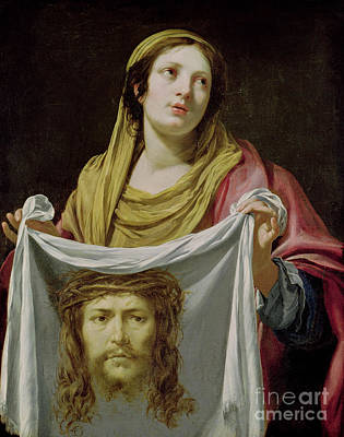Jesus Face Painting - St. Veronica Holding The Holy Shroud by Simon Vouet