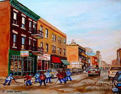 Kids Playing Hockey Painting - St. Viateur Bagel Hockey Game by Carole Spandau