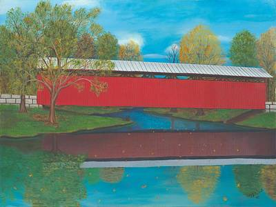Covered Bridge Painting - Staats Mill Covered Bridge by TJ Word