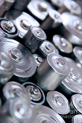 Cylinder Photograph - Stack Of Batteries by Carlos Caetano