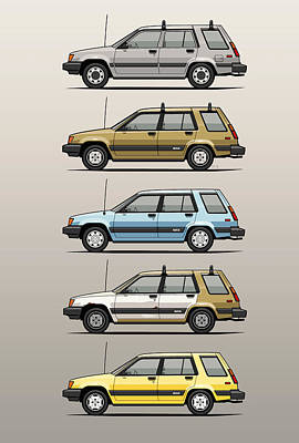 Stack Of Mark's Toyota Tercel Al25 Wagons Original by Monkey Crisis On Mars