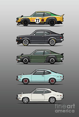 Stack Of Mazda Savanna Gt Rx-3 Coupes Original by Monkey Crisis On Mars