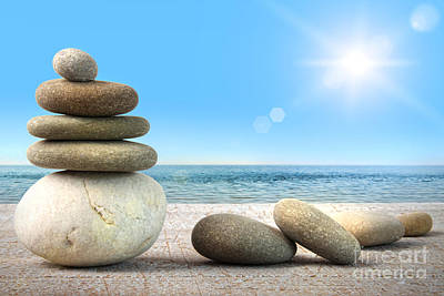 Stack Of Spa Rocks On Wood Against Blue Sky Print by Sandra Cunningham