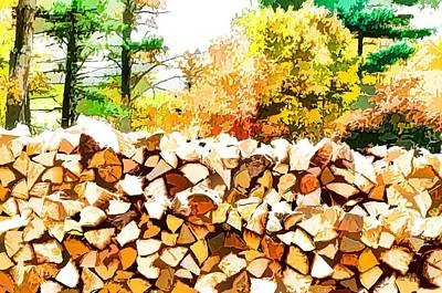 Snow Piles Painting - Stacked Fire Wood In Preparation For Winter by Lanjee Chee