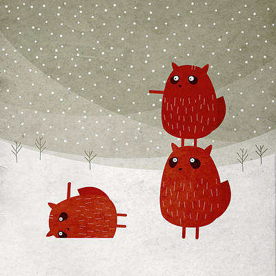 Squirrel Drawing - Stacked Squirrels In The Snow by Fuzzorama