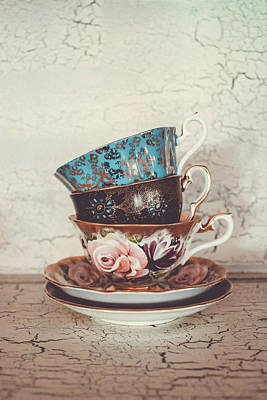 Gilt Cup Photograph - Stacked Teacups IIi by Colleen Kammerer