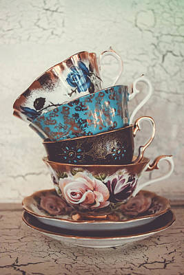 Gilt Cup Photograph - Stacked Teacups Iv by Colleen Kammerer