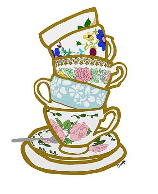 Floral Drawing - Stacked Teacups by Priscilla Wolfe