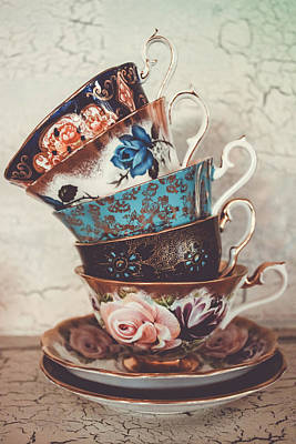 Gilt Cup Photograph - Stacked Teacups V by Colleen Kammerer