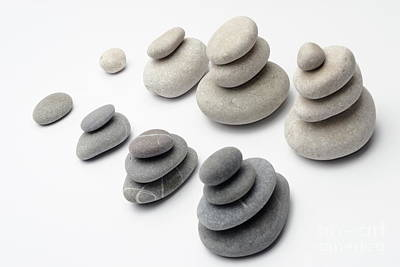 Balance In Life Photograph - Stacks Of White And Gray Pebbles by Sami Sarkis