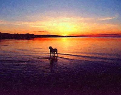 Oil Landscape Painting - Staffordshire Bull Terrier On Lake by Michael Tompsett