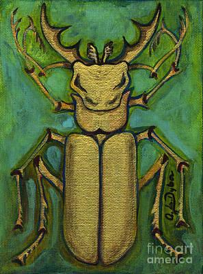 Polscy Malarze Painting - Stag Beetle by Anna Folkartanna Maciejewska-Dyba