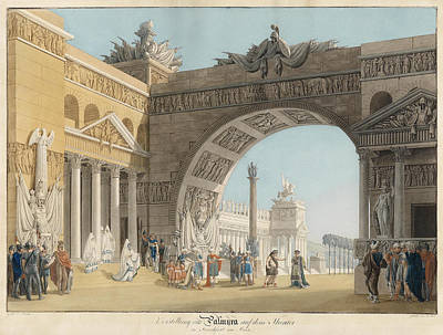 Anton Radl Drawing - Stage For The Opera Palmyra by Anton Radl