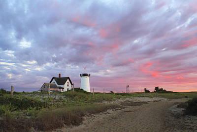 Stage Harbor Lighthouse Cape Cod Sunset Print by John Burk