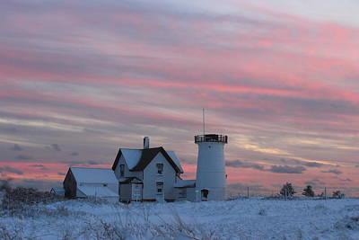 Stage Harbor Lighthouse Cape Cod Winter Sunset Print by John Burk