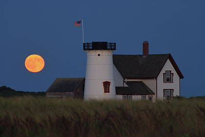 Stage Harbor Lighthouse Moonrise Print by John Burk