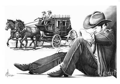 Stagecoach And Cowboy Print by Murphy Elliott