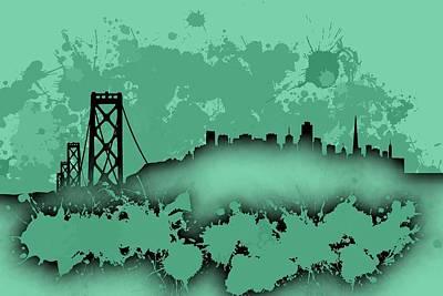 3d Digital Art - Stain San Francisco Skyline. Soft Turqoise by Alberto Ruiz