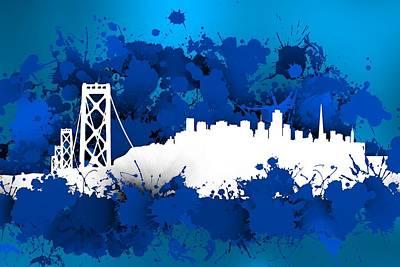 Bridge Digital Art - Stain San Franciso Skyline. Blue. by Alberto RuiZ