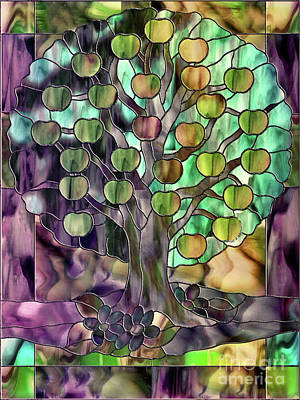 Glass Wall Painting - Stained Glass Apple Tree by Mindy Sommers