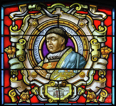 Stained Glass Bishop Juan Quinones Guzman Print by RicardMN Photography