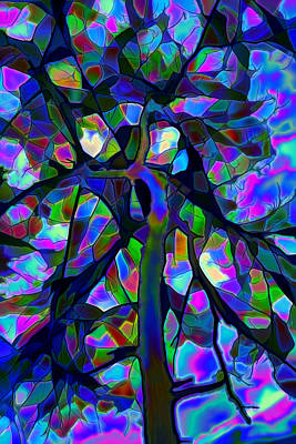 Stained Glass Tree Print by Lilia D