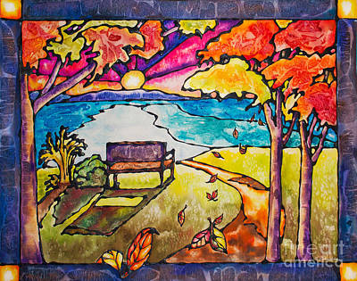 Window Bench Painting - Stained Glass Watercolor Fall Foliage by Caitlin  Lodato