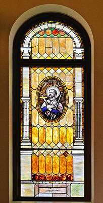 Immaculate Photograph - Stained Glass Window Father Antonio Ubach by Christine Till