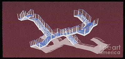 Barcelona Mixed Media - Stair 43 Negative Purple Shadow Architect Architecture by Pablo Franchi