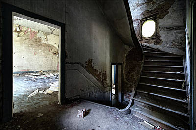 Staircase Abandoned Mansion - Urban Exploration Print by Dirk Ercken