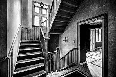 Staircase In Abandoned Castle - Urban Exploration Print by Dirk Ercken