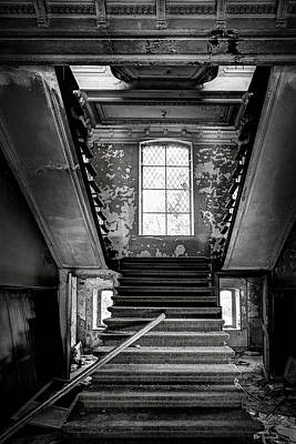 Staircase In Abandoned Castle - Urbex Print by Dirk Ercken