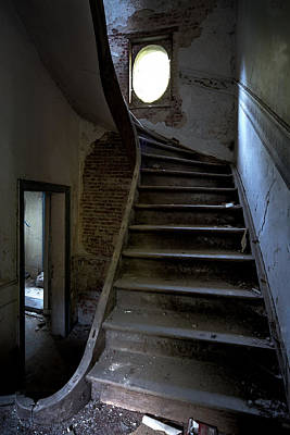Staircase In Decay- Urban Exploration Print by Dirk Ercken