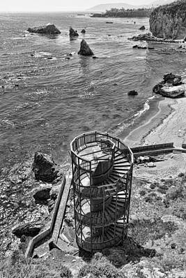 Vertical Photograph - Stairs To Nowhere Pismo Beach Black And White by Priya Ghose
