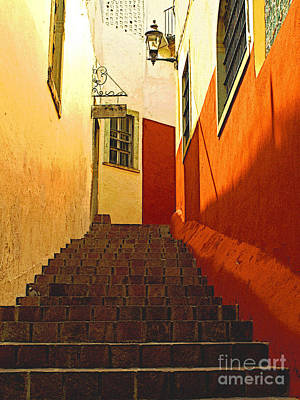 Portal Photograph - Stairway Guanajuato by Mexicolors Art Photography