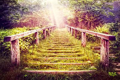 Stairway To The Garden Print by Debra and Dave Vanderlaan
