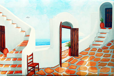 Stairs Painting - Stairways By The Sea by Mary Grden's Baywood Gallery