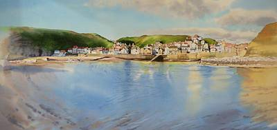 Staithes From The Sea Print by Matthew Phinn