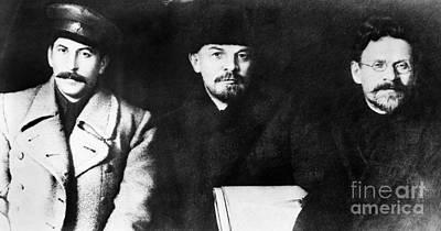 Stalin, Lenin & Trotsky Print by Granger